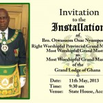 GRAND LODGE OF GHANA INSTALLATION