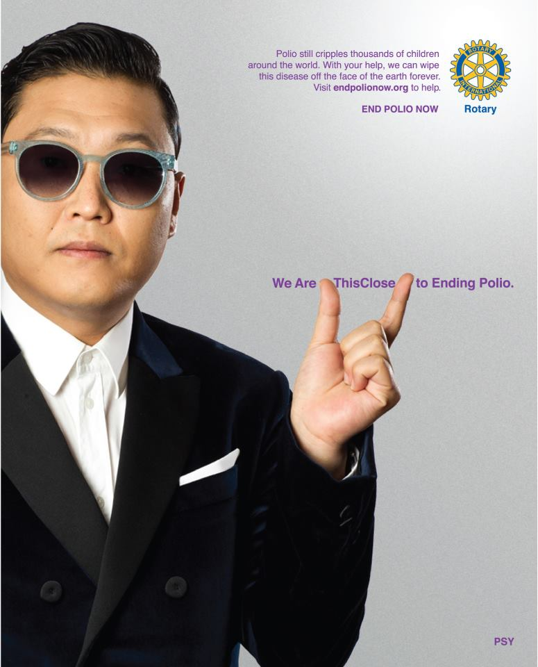 PSY joins Rotary International in its fight to end polio